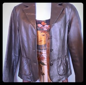 Bernardo Genuine Leather Gold Metallic Jacket